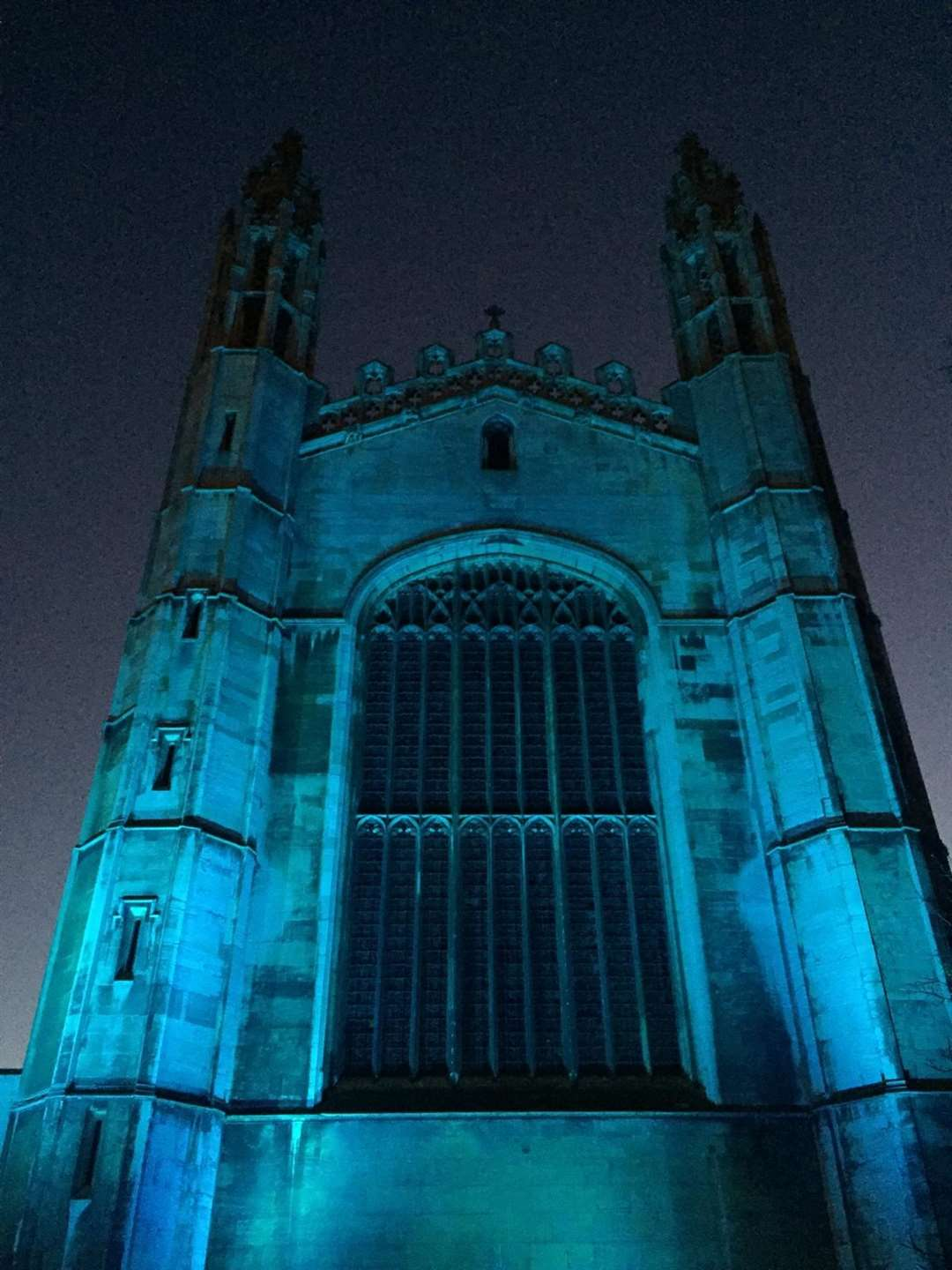 King's College is turned blue to show support for key workers. Picture: The Crane Event (32907365)