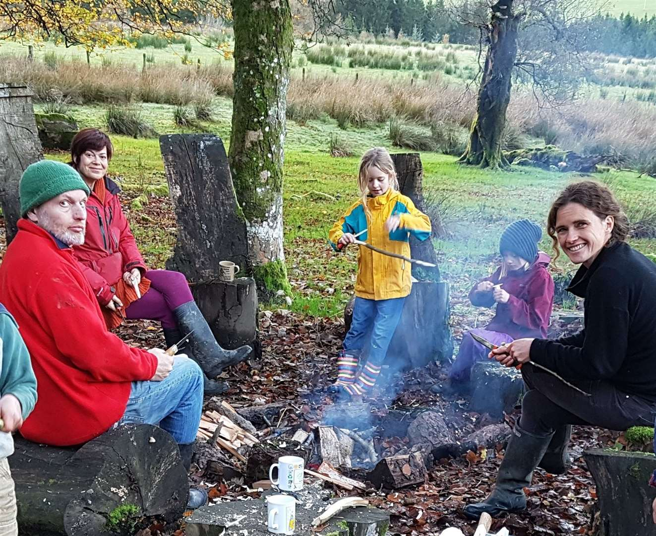 Rachel King enjoying a campfire with friends from the forest school. (43512761)