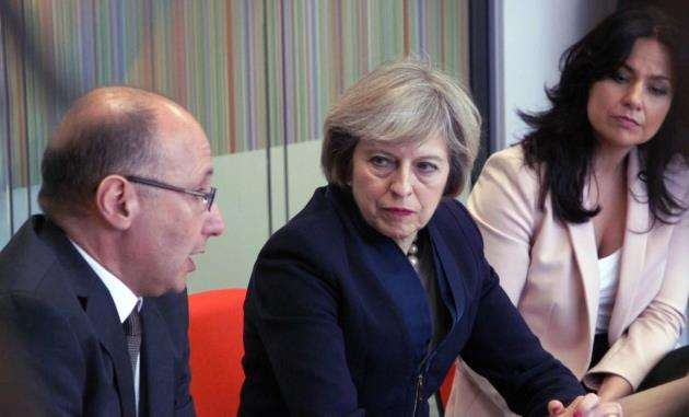 Prime Minister Theresa May at Wellcome Trust Genome Campus at Hinxton last year. Picture: Sanger Institute, Genome Research Ltd