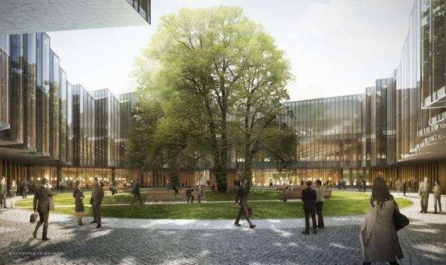 Concept drawing of the courtyard at AstraZenecas new Cambridge Biomedical Campus HQ