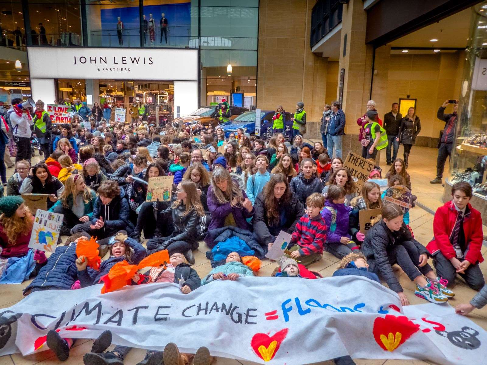 The school and youth strikers - from age 8 upwards - in lie-down protest at Grand Arcade for the February 2020 Valentine's Day march. Picture: Derek Langley
