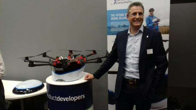 Cambridge Consultants Nathan Wrench at the Future of Transport event with DelivAir. Picture: Mike Scialom