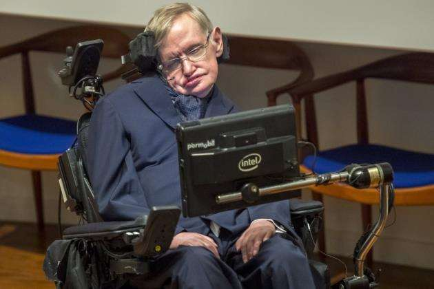 Prof Stephen Hawking at the Moller Centre. Picture: Keith Heppell