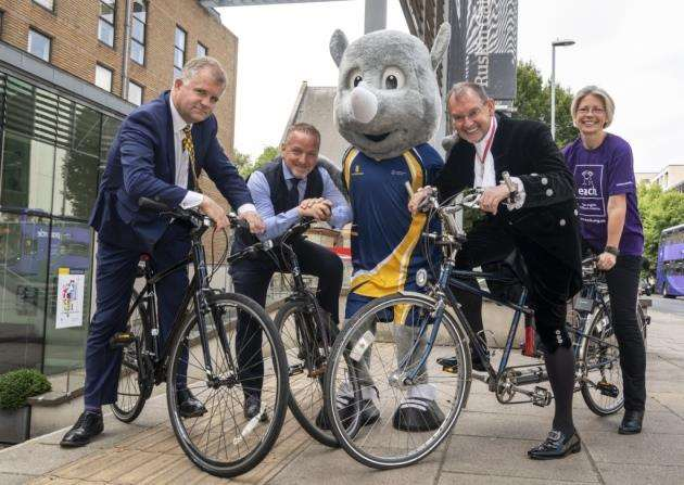 From left, Professor Iain Martin, Vice Chancellor at ARU, Richard Gray, from Ridgeons, the ARU mascot, High Sheriff Andy Harter with his wife, the Deputy Lord Lieutenant Lily Bacon, a patron of Each. Picture: Keith Heppell