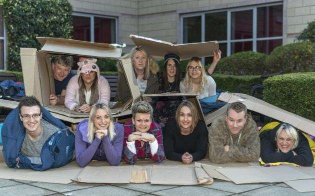Marshall staff sleep out, aiming to raise £6000 for the homeless support charity Centrepoint through a rough sleeping night. Picture: Keith Heppell