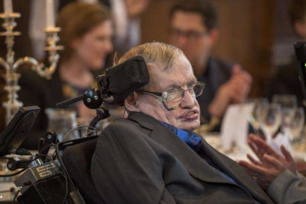 Professor Stephen Hawking at a dinner in his honour at Gonville & Caius College to celebrate his 75th Birthday. Picture: Keith Heppell
