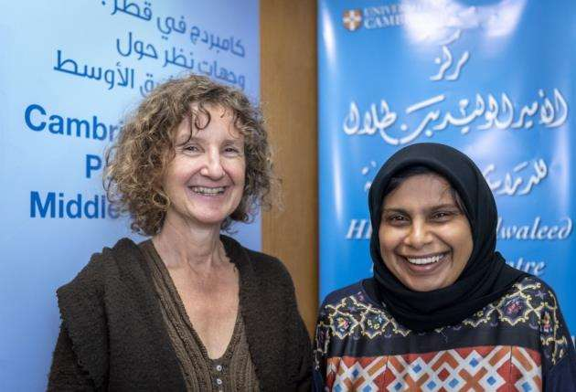 Penny Hall and Mehrunisha Suleman, co-organiser of DyingforLife at the Prince Alwaleed Bin Talal Centre of Islamic Studies. Picture: Keith Heppell