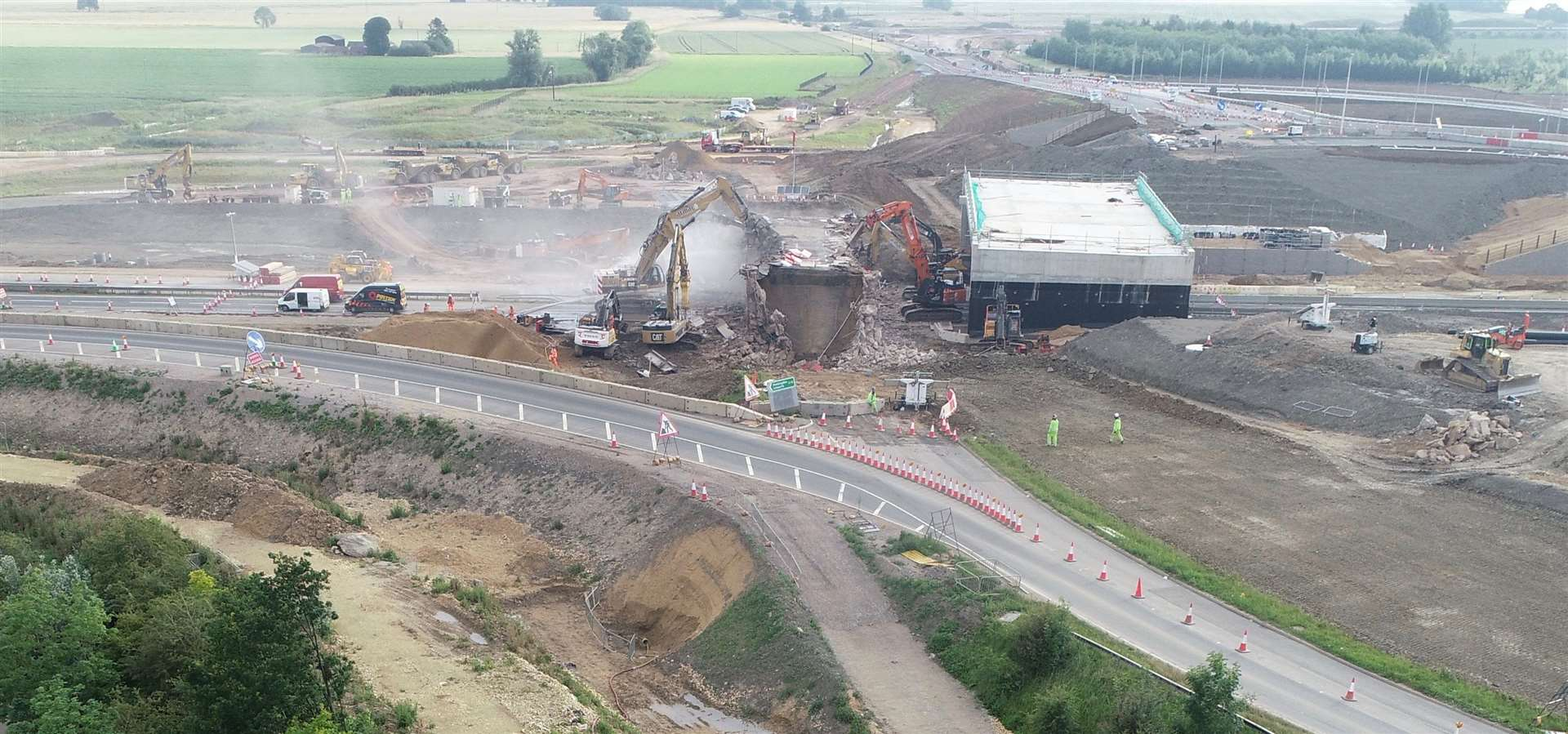 A14 Bar Hill bridge demoltion. Picture: Adam Price, AP Aerial Film