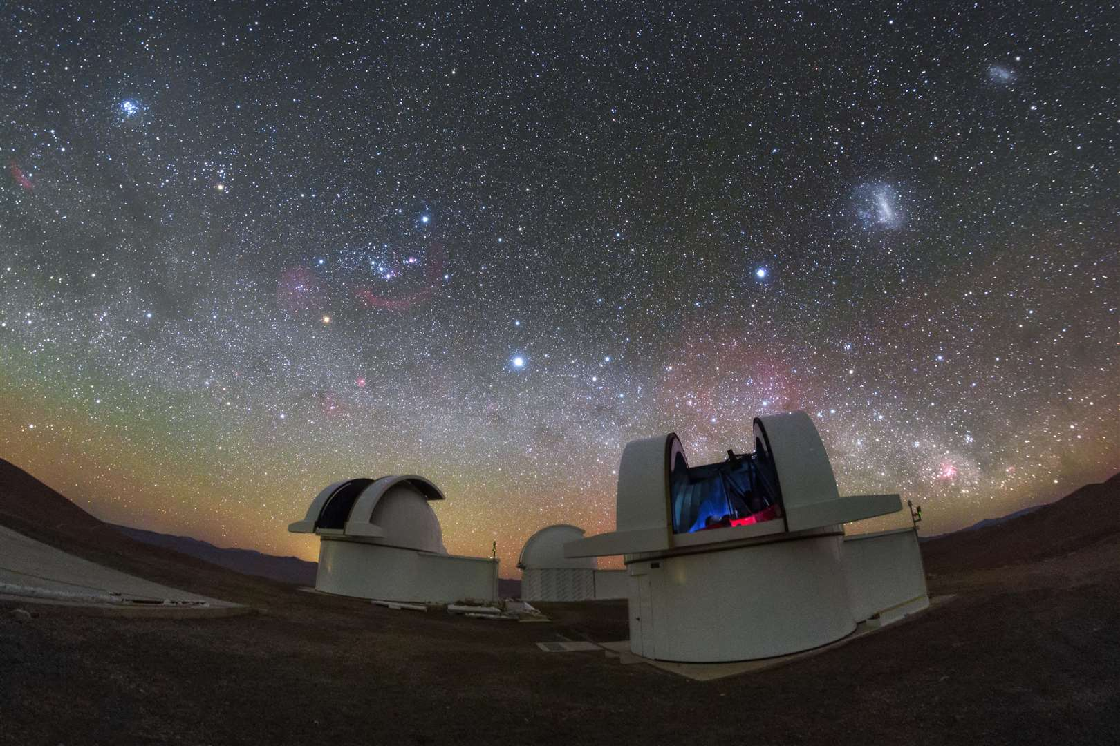 The telescopes of the SPECULOOS Southern Observatory gaze out into the stunning night sky over the Atacama Desert, Chile. Image: ESO/ P. Horálek (6365282)
