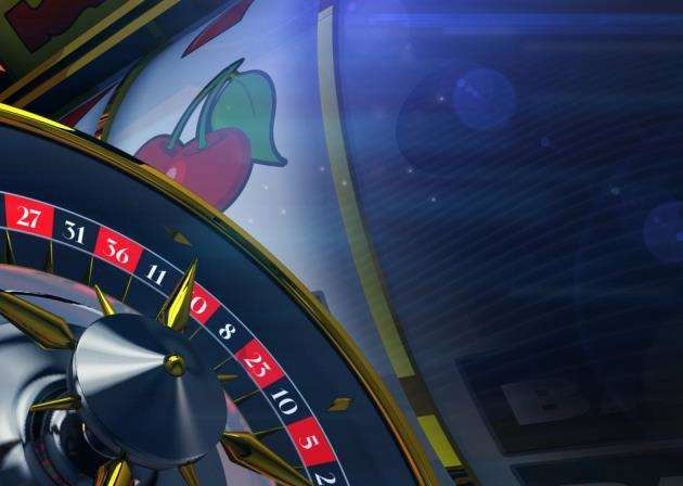 Slot and Roulette Banner Background. Casino Concept 3D Render Illustration with Copy Space.