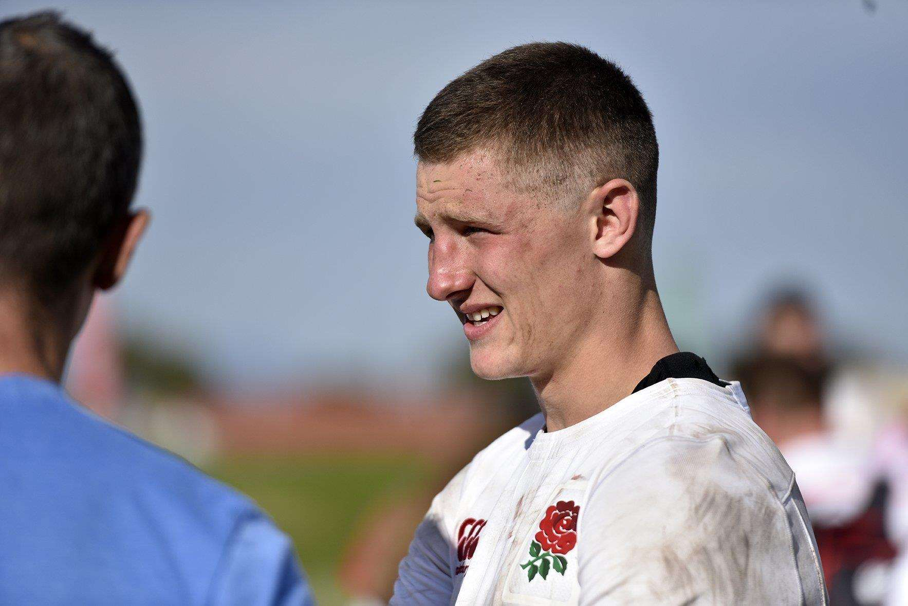 Former Cambridge Rugby Club mini and youth player Fraser Dingwall in action for England. Picture: David Spink/RFU. (6912210)