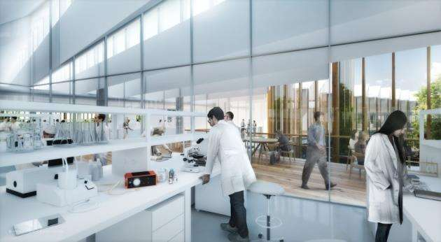 Concept drawing of second floor lab at AstraZeneca in Cambridge