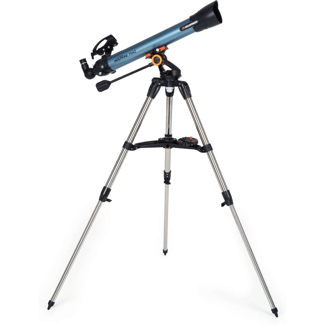 A Celestron refractor telescope on an alt-az mount