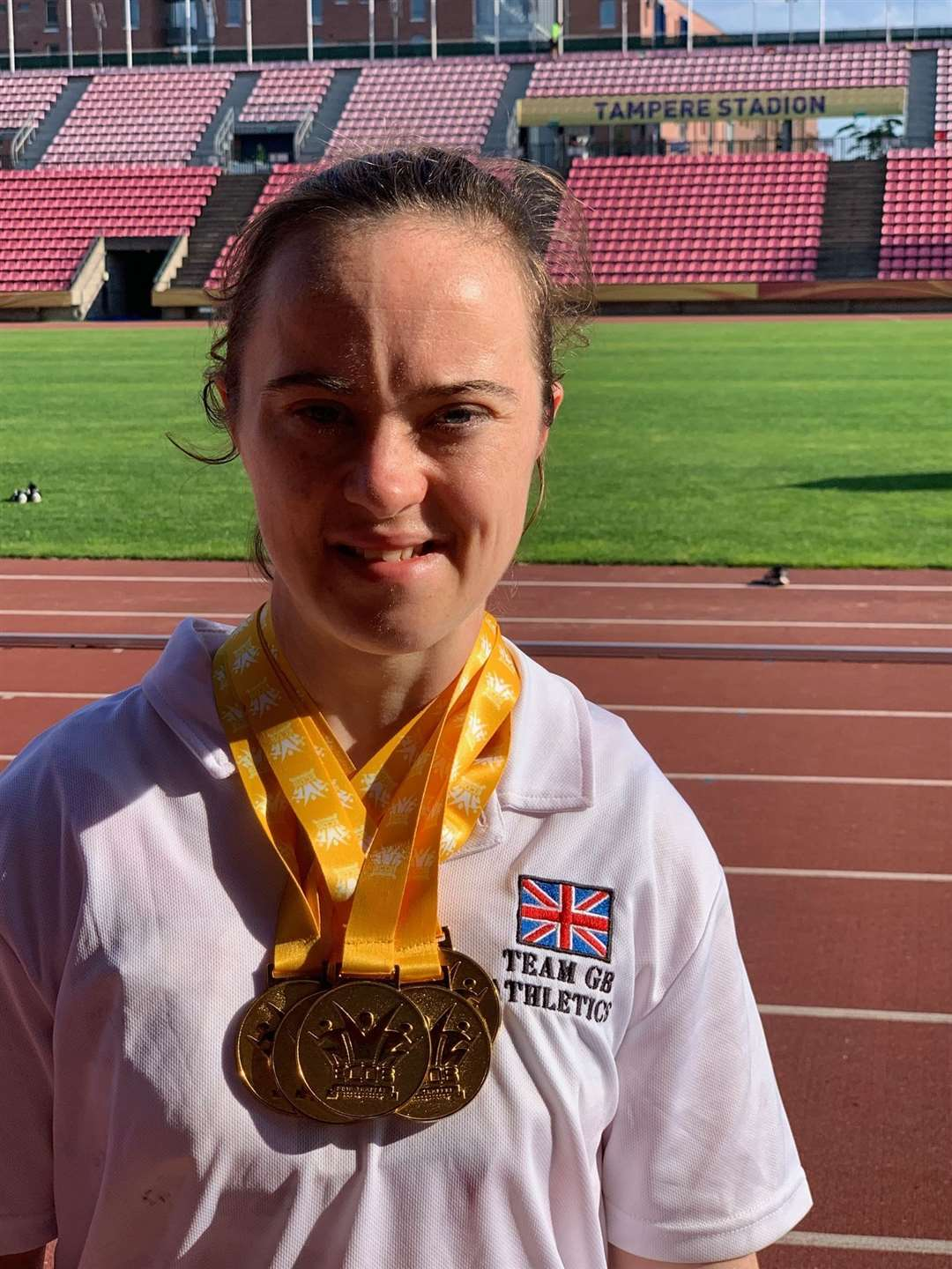 Charlotte Cox with her gold medals from the IAADS European Championships. Picture: Sonia Cox (14773921)