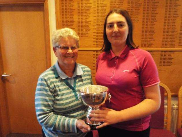 Cambs and Hunts Ladies County Golf Assocaition Junior/Adult Greensomes winners Greta Barclay (left) and Natasha Bamford.