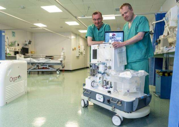 From left, Professor Chris Watson and Hon Consultant Andrew Butler with the new perfusion machine. Picture: Keith Heppell
