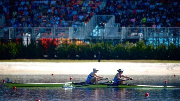 Great Britains Holly Hill and Melissa Wilson at the world rowing championships. Picture: Naomi Baker.