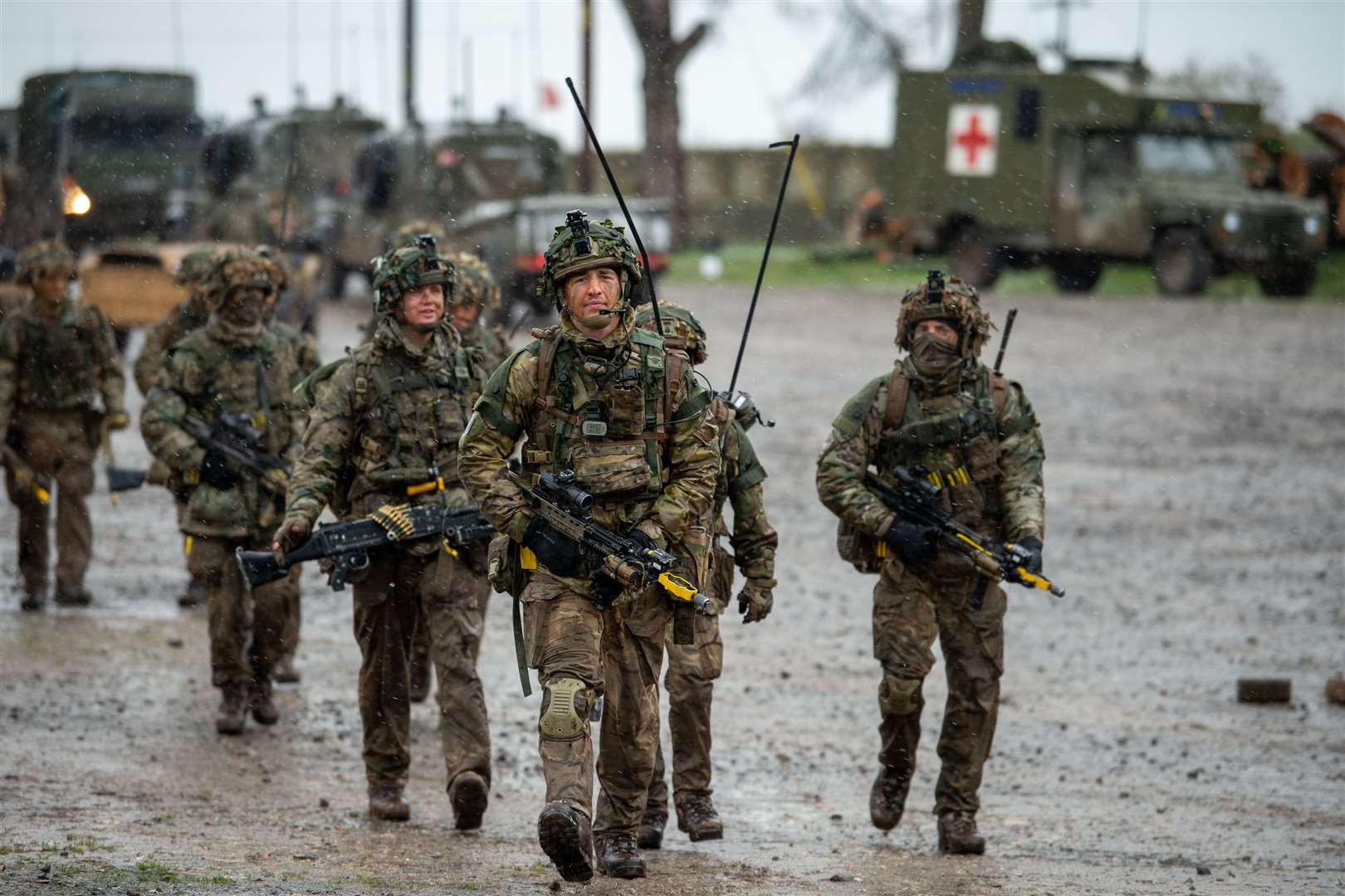 Soldiers from the 2rd Battalion, The Royal Anglian Regiment - Steve Hadaway's battalion - coming back from a training exercise on Salisbury plain.