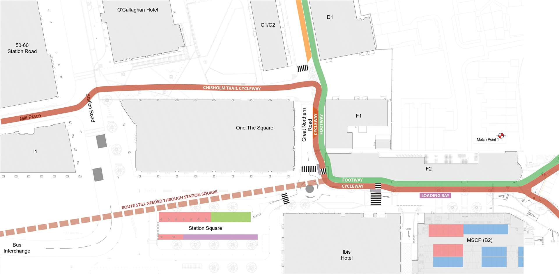 Smarter Cambridge Transport and Camcycle propose a cycle and walking route through the Devonshire Quarter that avoids the mini roundabout (42745804)