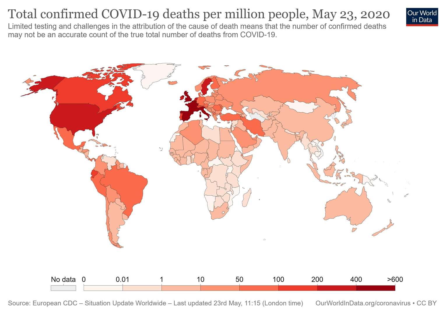 Total confirmed Covid-19 deaths per million across the world. Graphic: Our World in Data
