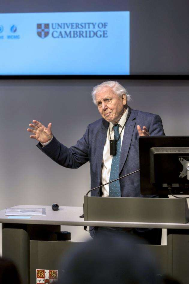 Sir David Attenborough closing the proceedings. Picture: Toby Smith/Cambridge Conservation Initiative