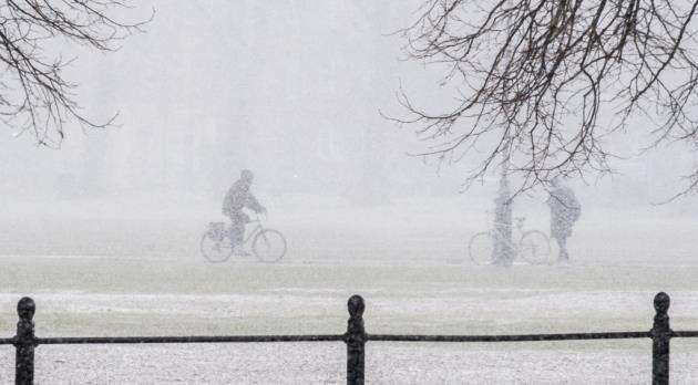 Snowfall in Cambridge on Monday, February 26 as the storn from Siberia starts to hit. Picture: Keith Heppell