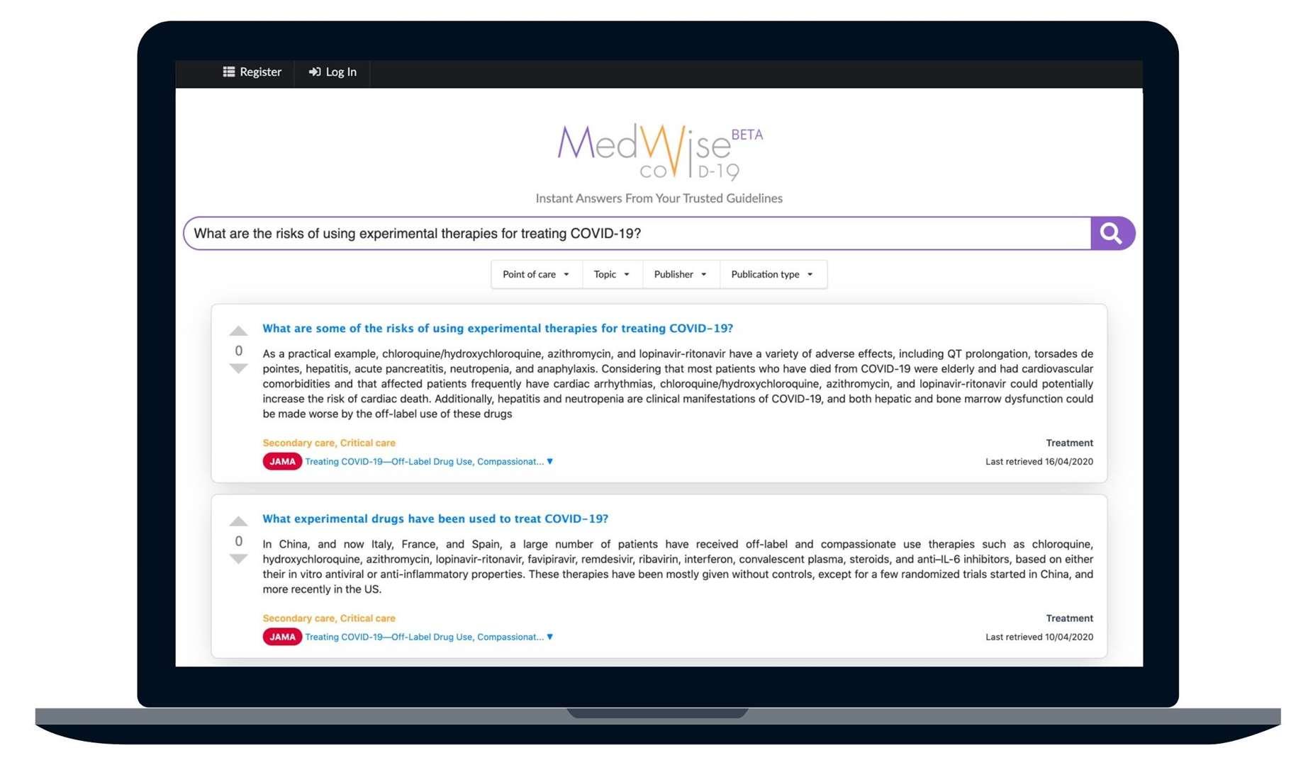 A screenshot from Medwise.ai's platform