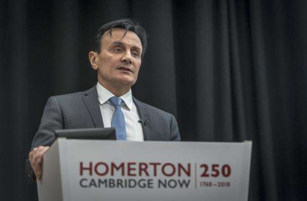 Pascal Soriot, CEO of AstraZeneca, delivers the second annual Kate Pretty Lecture at Homerton College, University of Cambridge. Picture: Keith Heppell