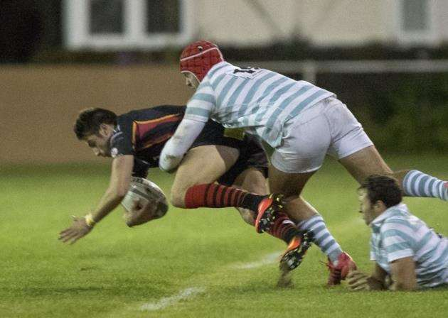 Mike Stanway repeated his exploits of 12 months ago, pictured here, with three tries for Cambridge against Cambridge University.