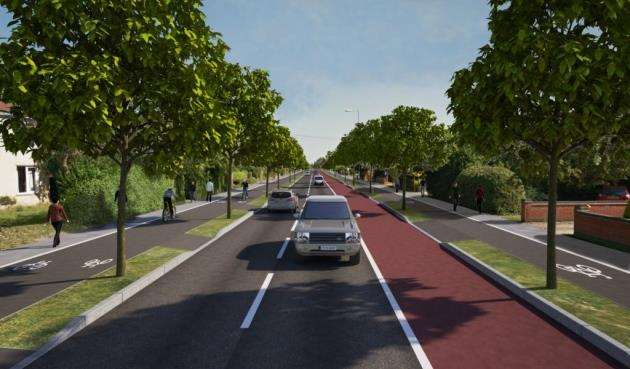 Milton Road proposals: Outbound view, north of Downhams Lane. Image: GCP