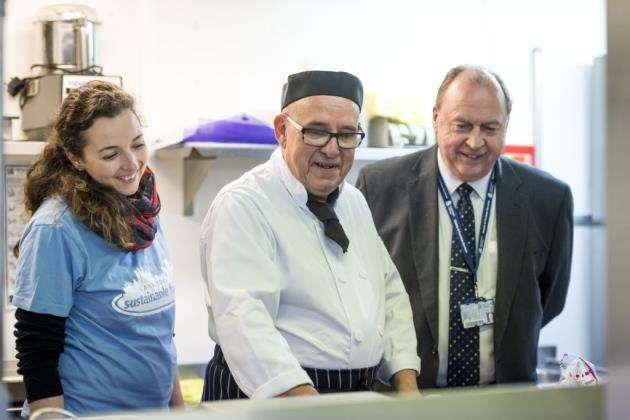 Suzannah Wansell, of CSF, with chef David Haw, and Terry Hope, catering, hospitality and events manager at Anglia Ruskin University. Picture: Keith Heppell