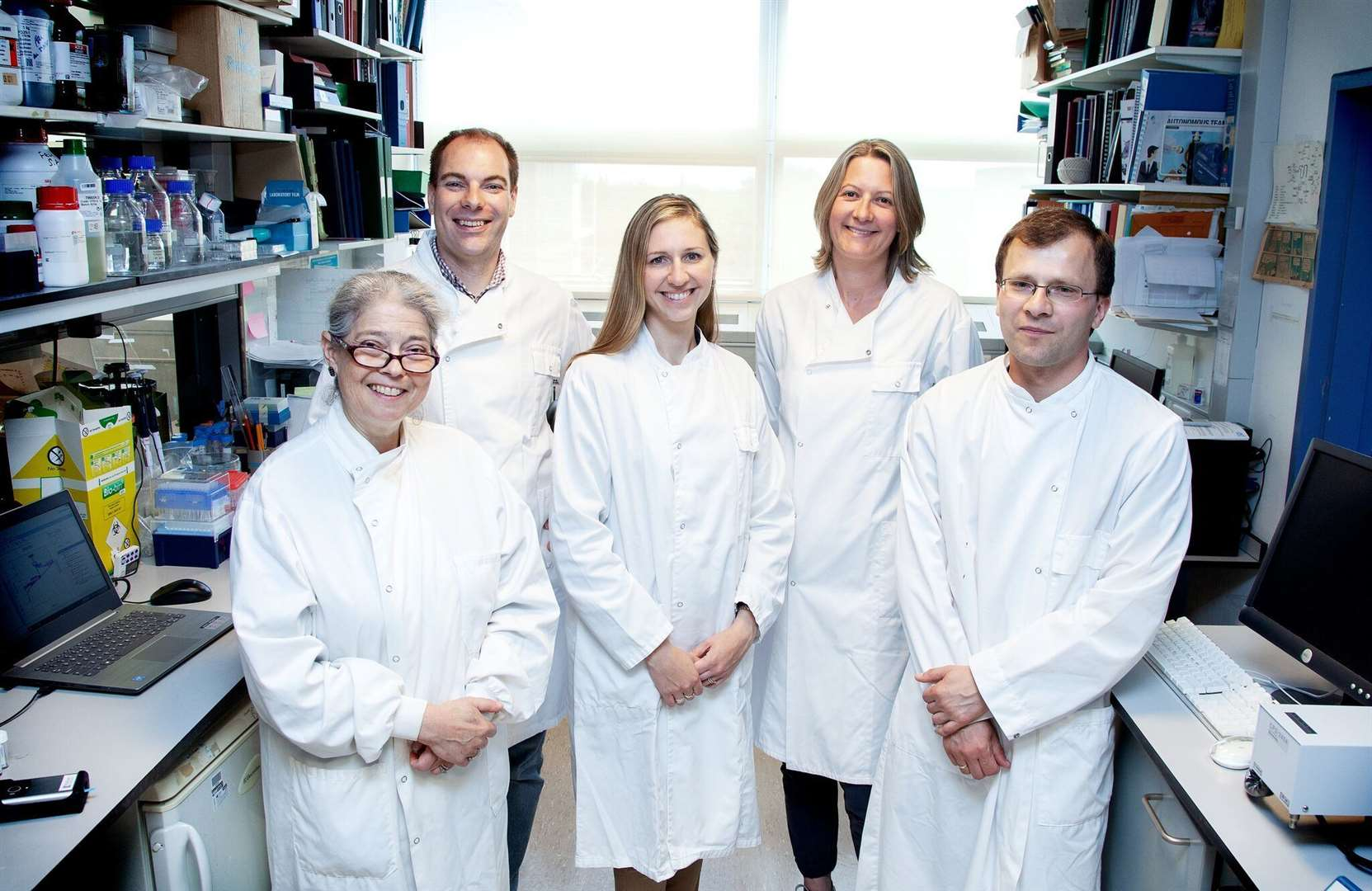 The Kalium Health team in their Cambridge laboratory. From left, Professor Fiona Karet, chief medical officer; Tom Collings, chief executive officer, Dr Tanya Hutter, chief technology officer; Dr Liz Norgett, chief scientific officer; Dr Greg Orlowski, lead electrochemist. Picture: Melanie Yeneralski, CUH Media Studio (31492084)