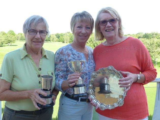 Cambs & Hunts Ladies County Golf Association Veterans Championships winners, left to right, Rosemary Farrow, Mo Poole and Brenda Davey.