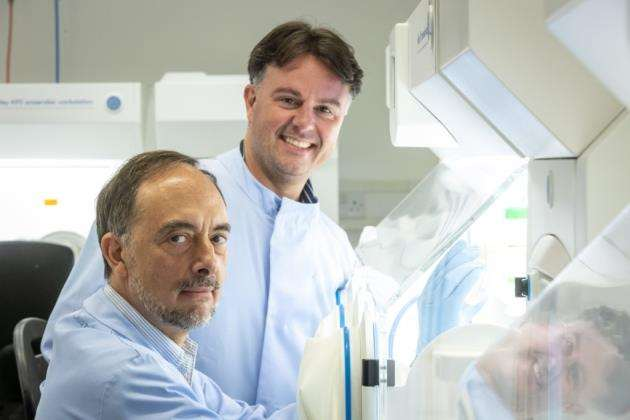 Chief executive officer Mike Romanos and chief scientific officer Trevor Lawley at Microbioticas labs. Picture: Keith Heppell