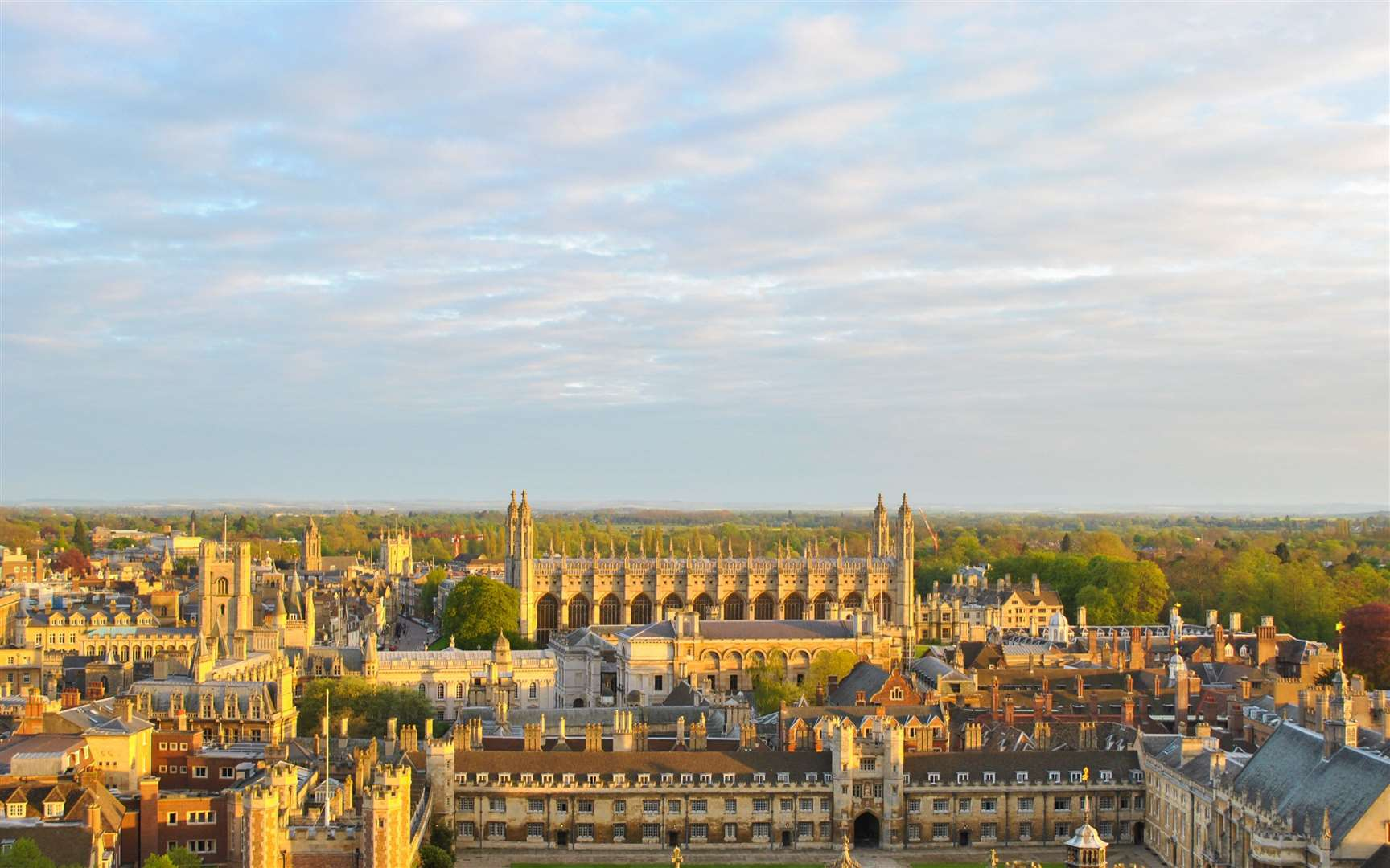 Panoramic view of several college buildings in Cambridge, seen from the tower of St John's College. (28413676)