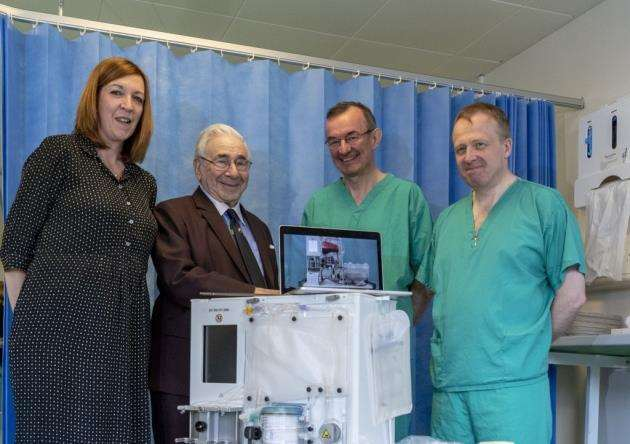 From left, ACT chief executive Shelly Thake, Professor Sir Roy Calne, Professor Chris Watson and Hon Consultant Andrew Butler with the new machine. Picture: Keith Heppell
