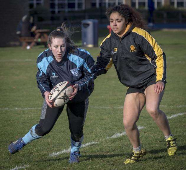 Hills Road Sixth Form College womens rugby team. Picture: Keith Heppell