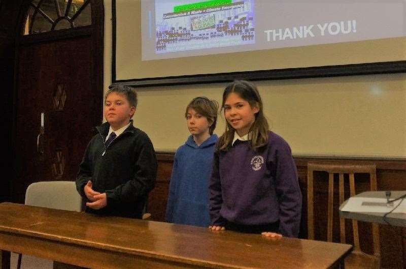 Nico Roman, 11; Harry Auld, 10 and Freya Kotter, nine, at the Department of Land Economy for Cambridge Eco Schools Council's first guest lecture. Picture: Helene Kotter