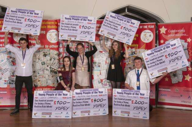 The Yopey winners celebrate their success - Lucy Stafford is second from the right.
