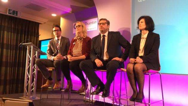 The panel, from left, Neil Hammill, vice president of sales at Cambridge Commodities, Faye Holland, founder of Cofinitive, James Palmer, mayor of Cambridgeshire and Peterborough and Anne Bailey, founder of Form the Future, at the unveiling of the Cambridgeshire Ltd 2017 report