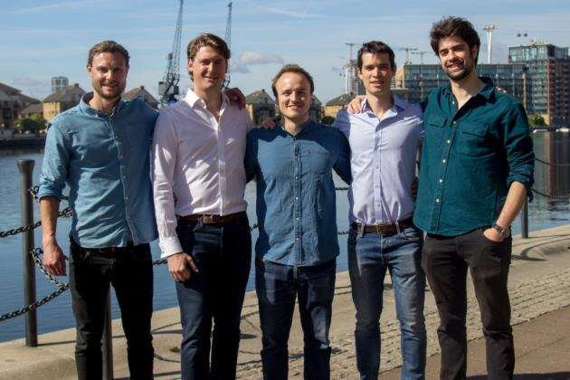 The Chronomics team, from left, Rob Thompson, CTO and full stack developer, Charles Ball, COO and co-founder, Tom Stubbs, CEO and co-founder, Toby Call, co-founder, and Daniel Herranz, CSO and co-founder