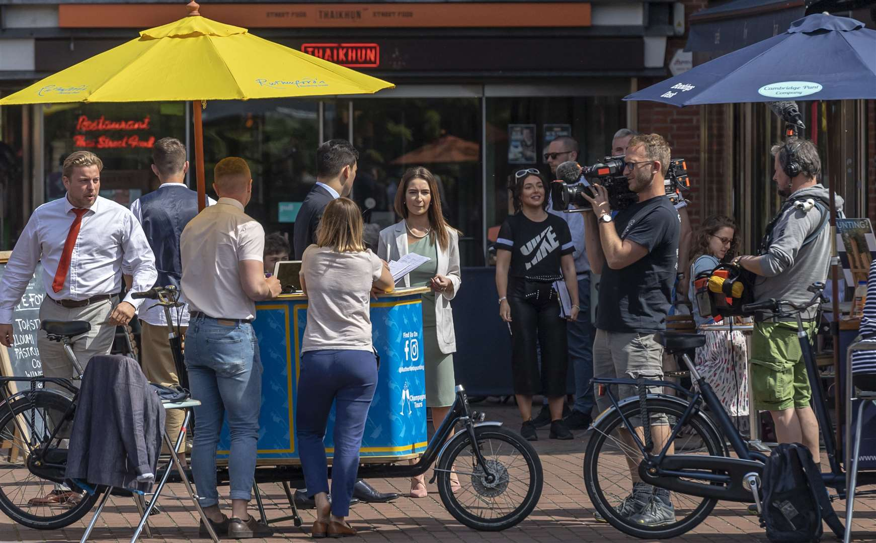 The Quayside in Cambridge was a filming location for the 2019 season of BBC One's The Apprentice on Wednesday May 15. Picture: Keith Heppell