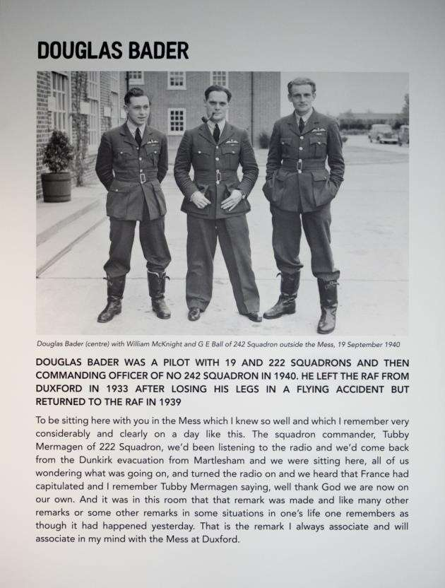 One of the information boards at The Officers Mess, displaying information on Douglas Bader