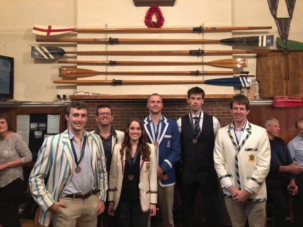 Representatives from Cambridge 99's winning Quintin Head M1 crew at the prize giving - Sam Philpott, Nick Thorn, Sammi Tarling, Matt Moore, Will Young (8776562)