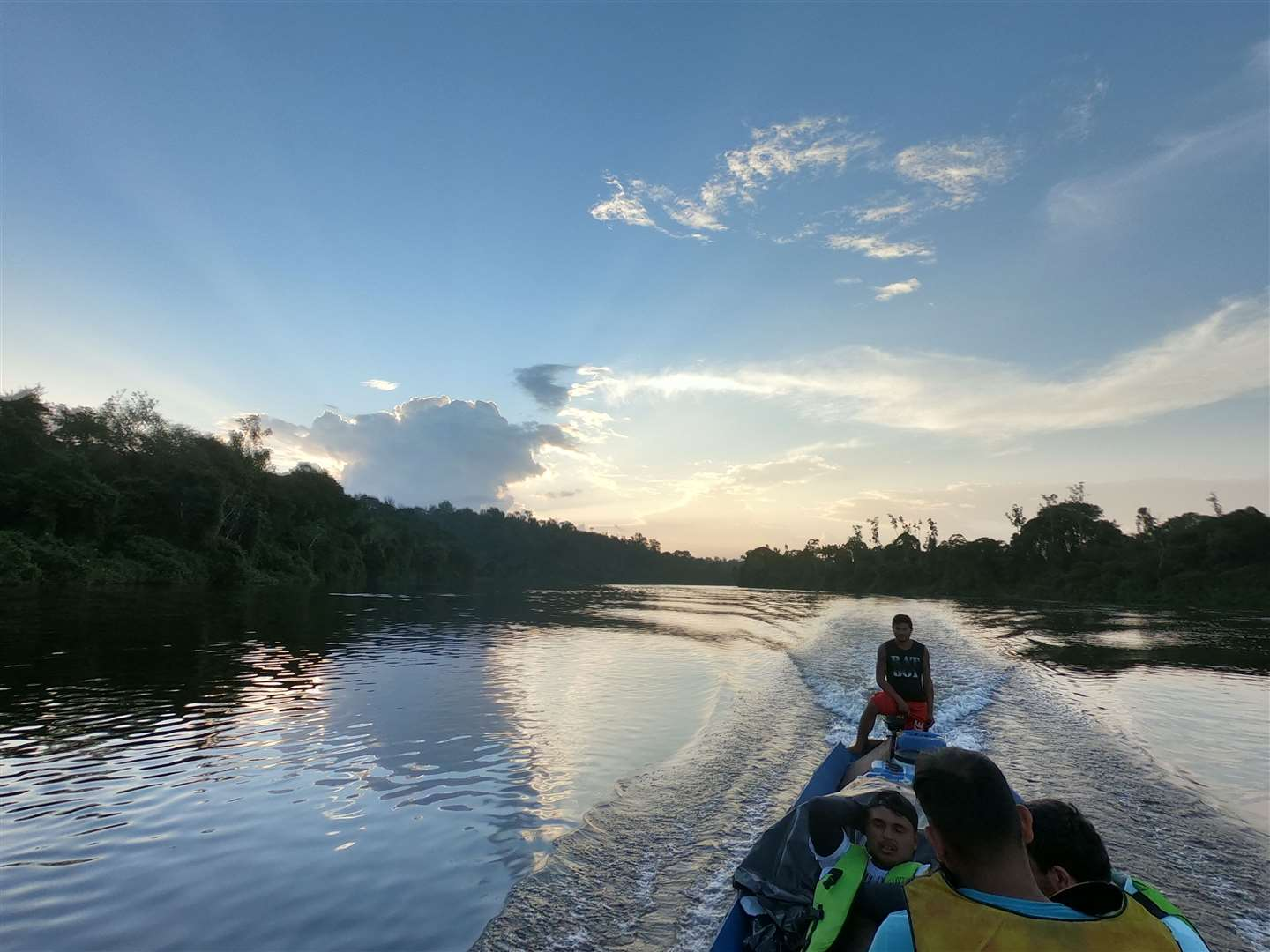 The river trip taking researchers to the tallest tree in the Amazon. Picture: Toby Jackson