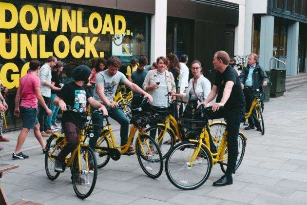 The launch of the Ofo scheme in Cambridge