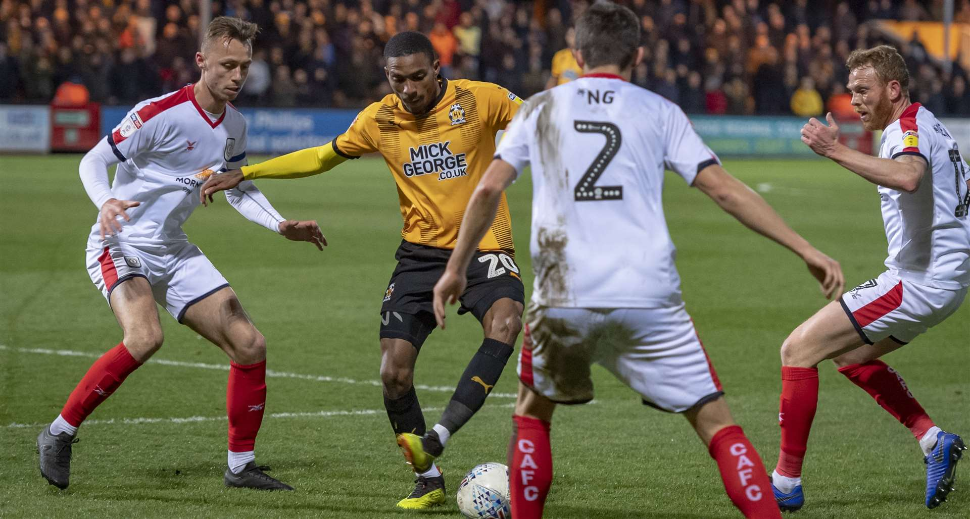 Cambridge United's Jevani Brown in action against Crewe Alexandra. Picture: Keith Heppell