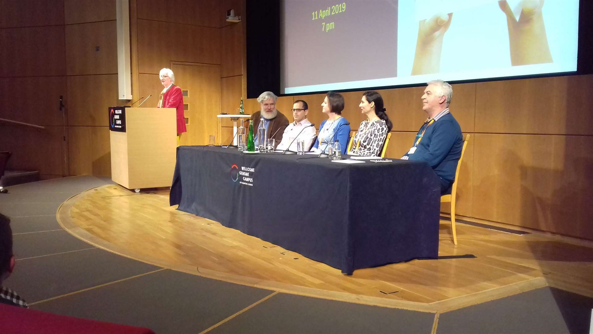 The panel at Wellcome Genome Campus' Conference Hall, with chair Professor Stephan Beck addressing the audience. Picture: Mike Scialom