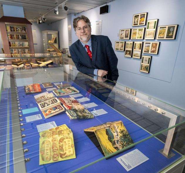 Mark Purcell, deputy director of research collections, at the Cambridge University Librarys new exhibition. Picture: Keith Heppell
