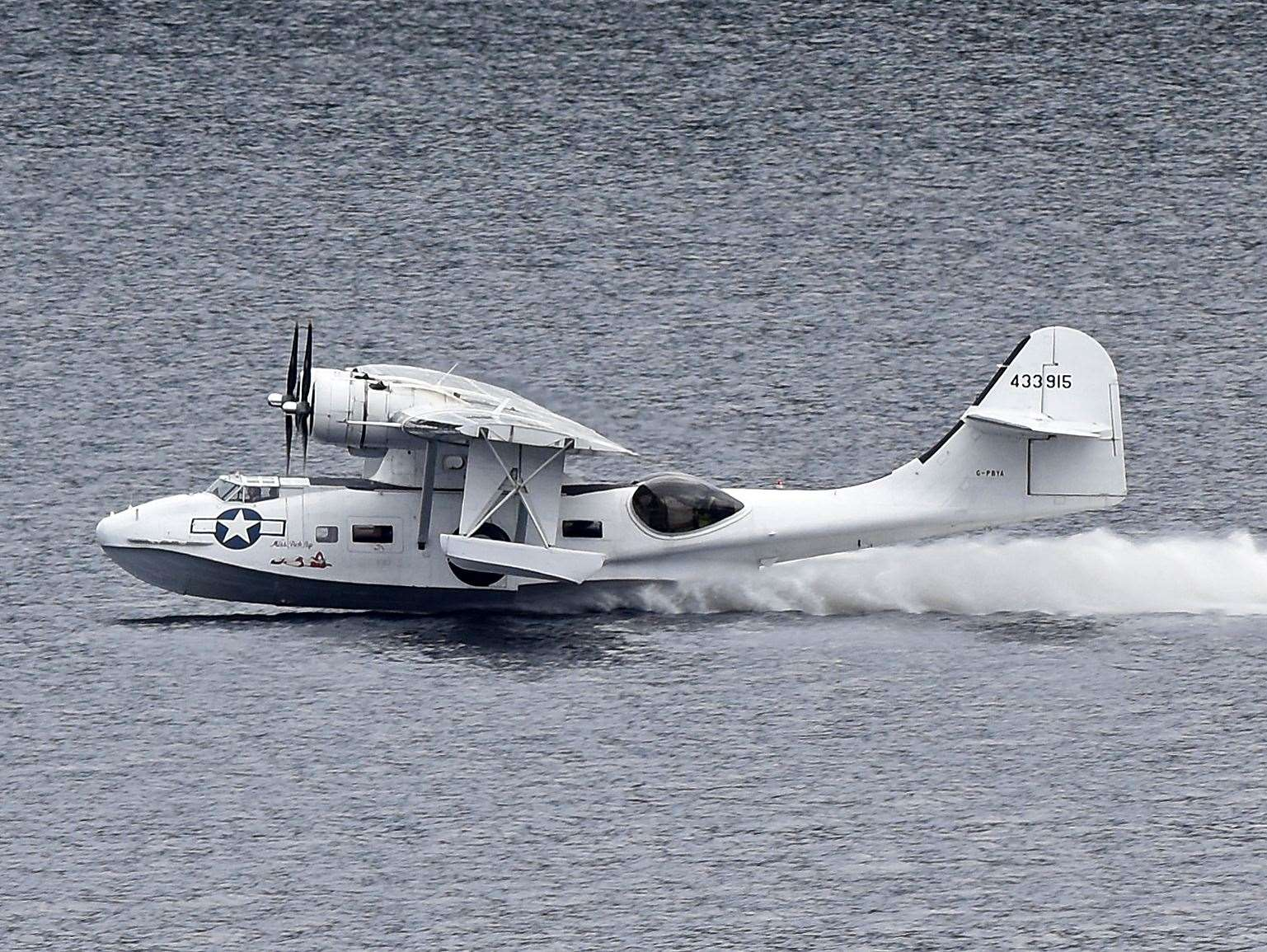 The Catalina on the water on Loch Ness before the engine failure Picture: Niall Paterson (44208129)